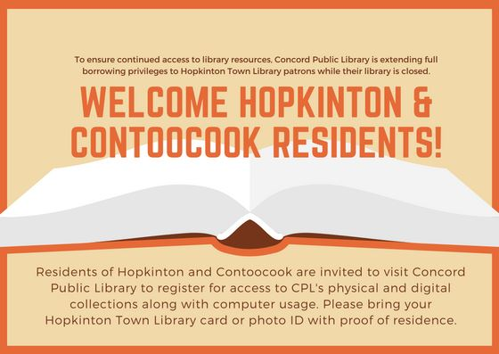 Welcome Hopkinton Town Library Patrons