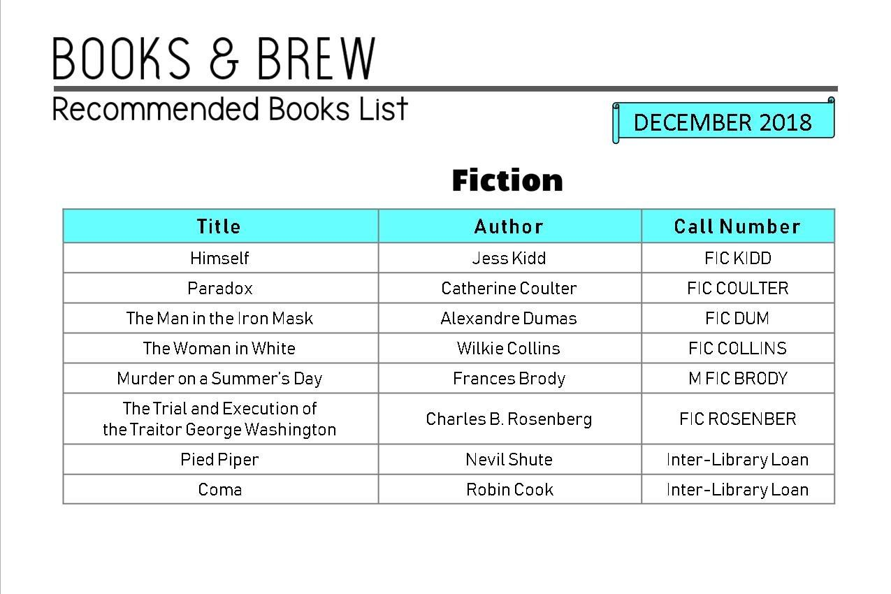 Books and Brew Book List December 2018