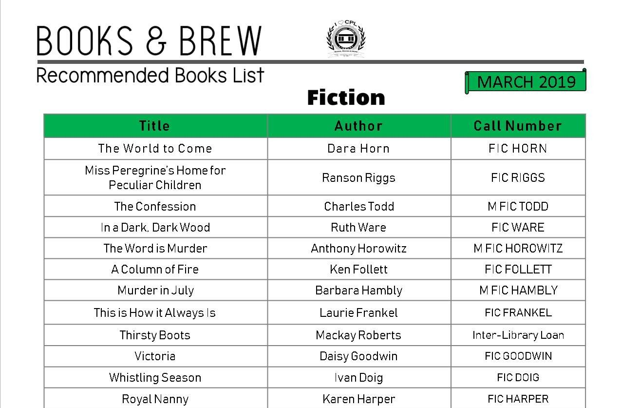 Books and Brew Book List March 2019