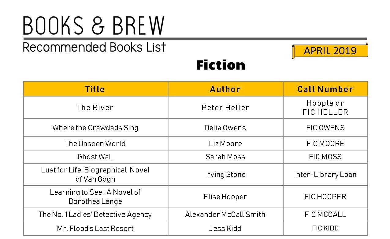 Books and Brew Book List April 2019