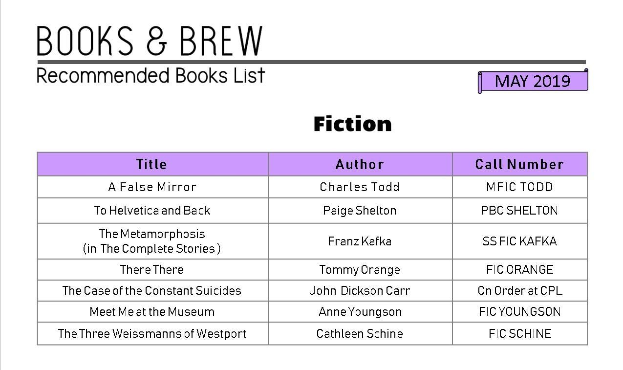 Books and Brew Book List May 2019