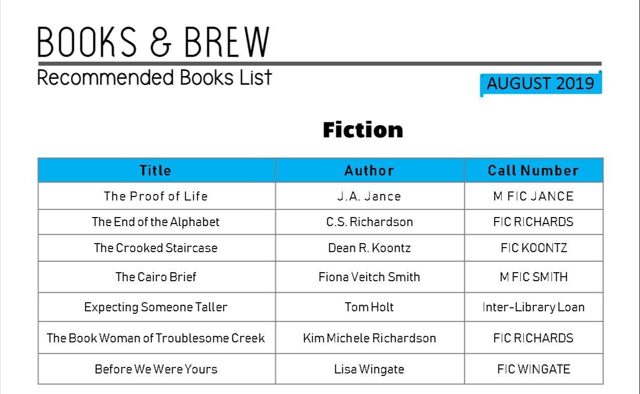 Books and Brew Book List August 2019