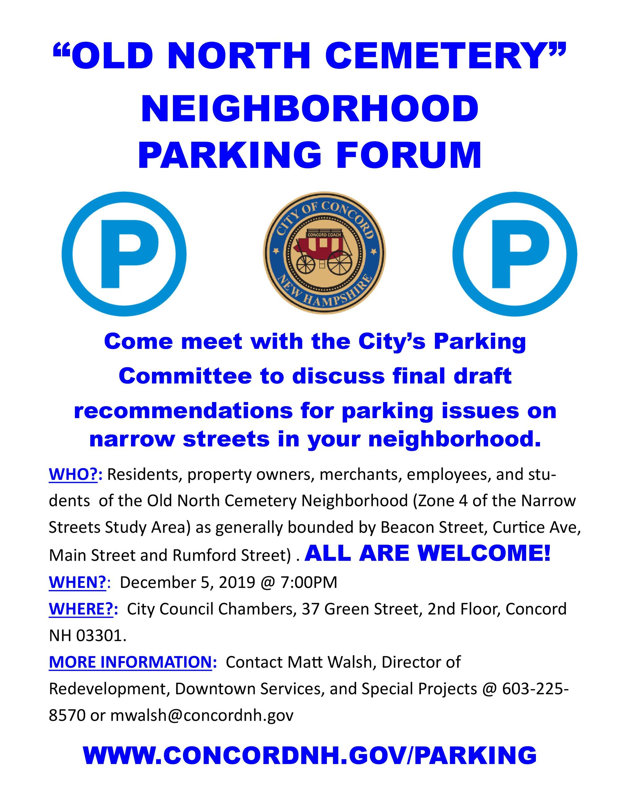 Old North Cemetery Neighborhood Parking Forum 12052019