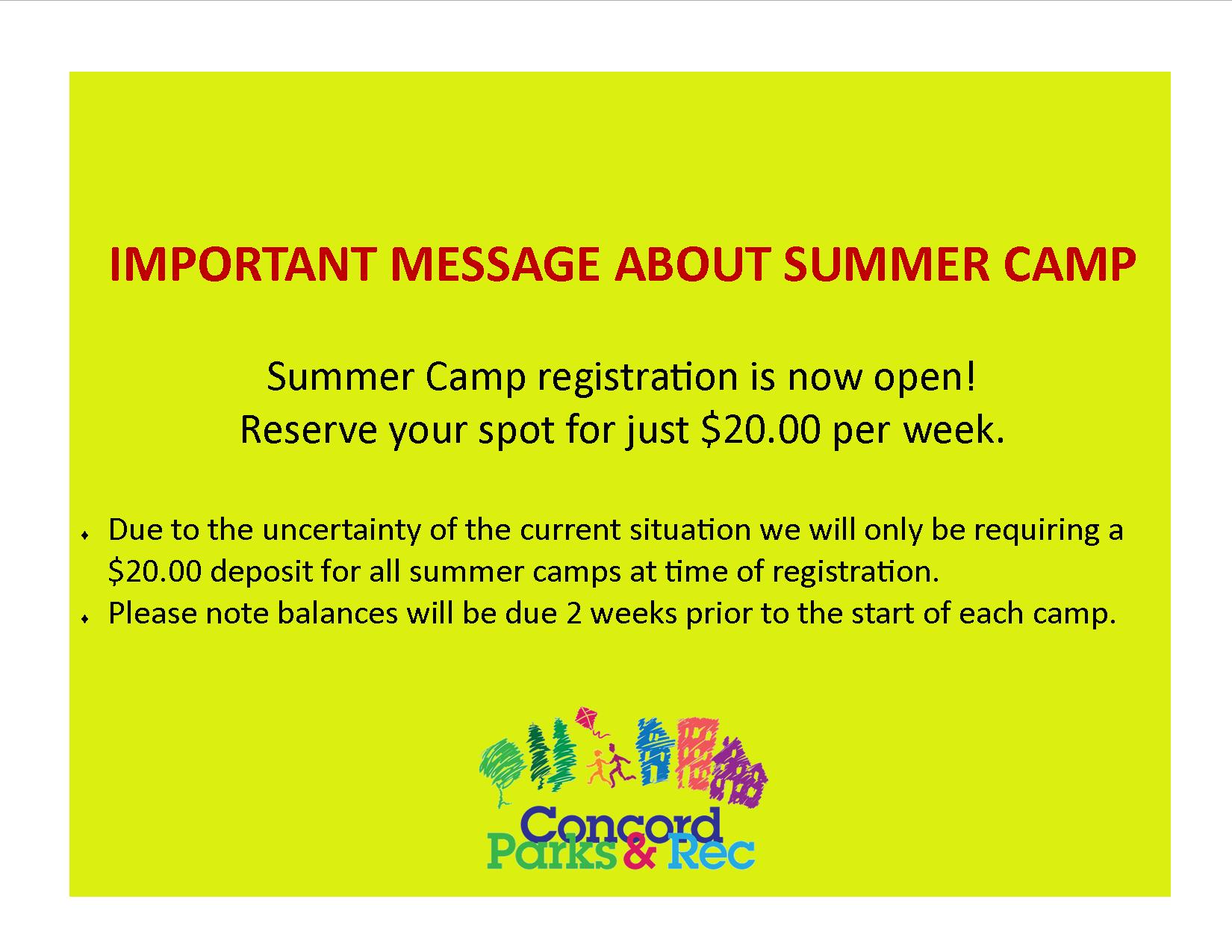 summer camp payments