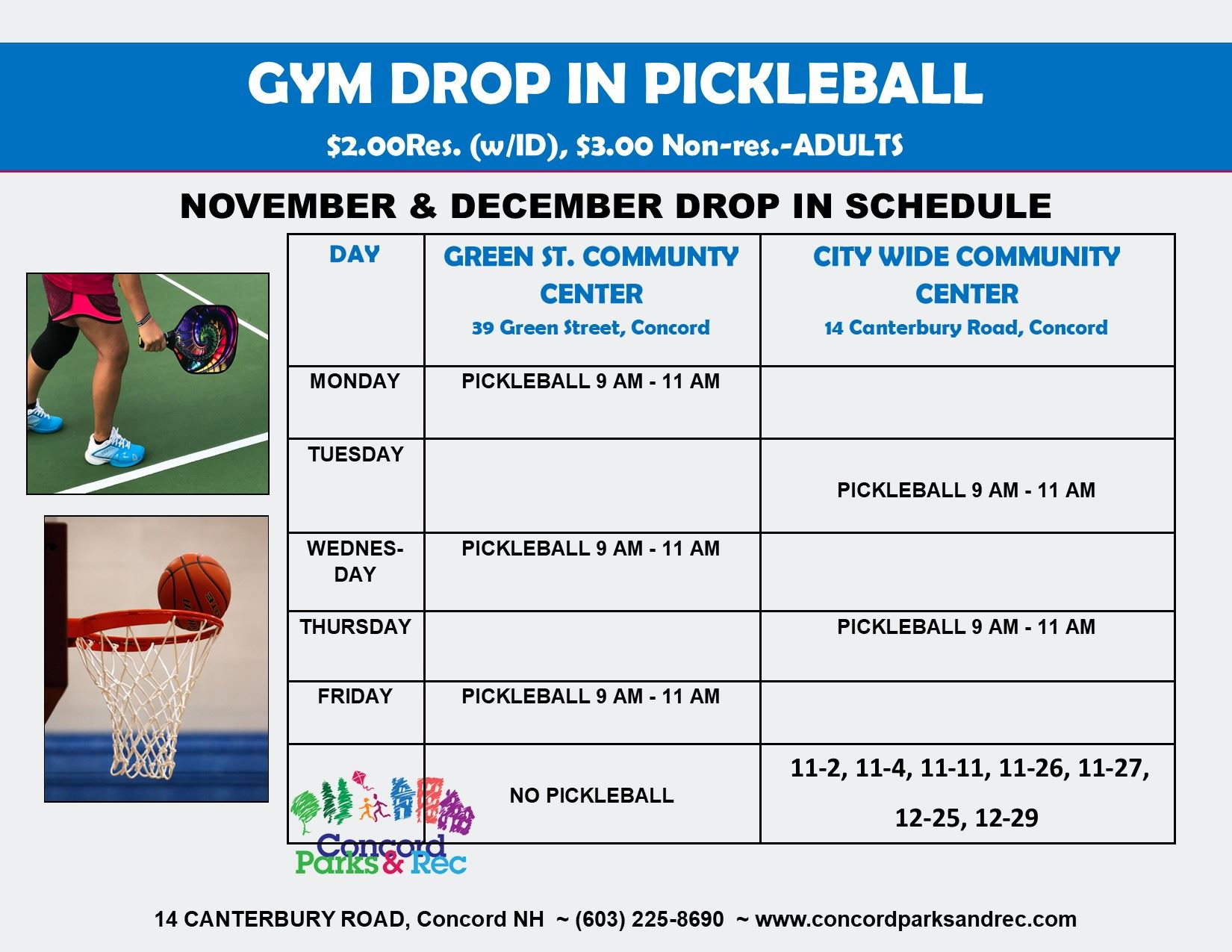 Drop in sports classes Nov-Dec 2020