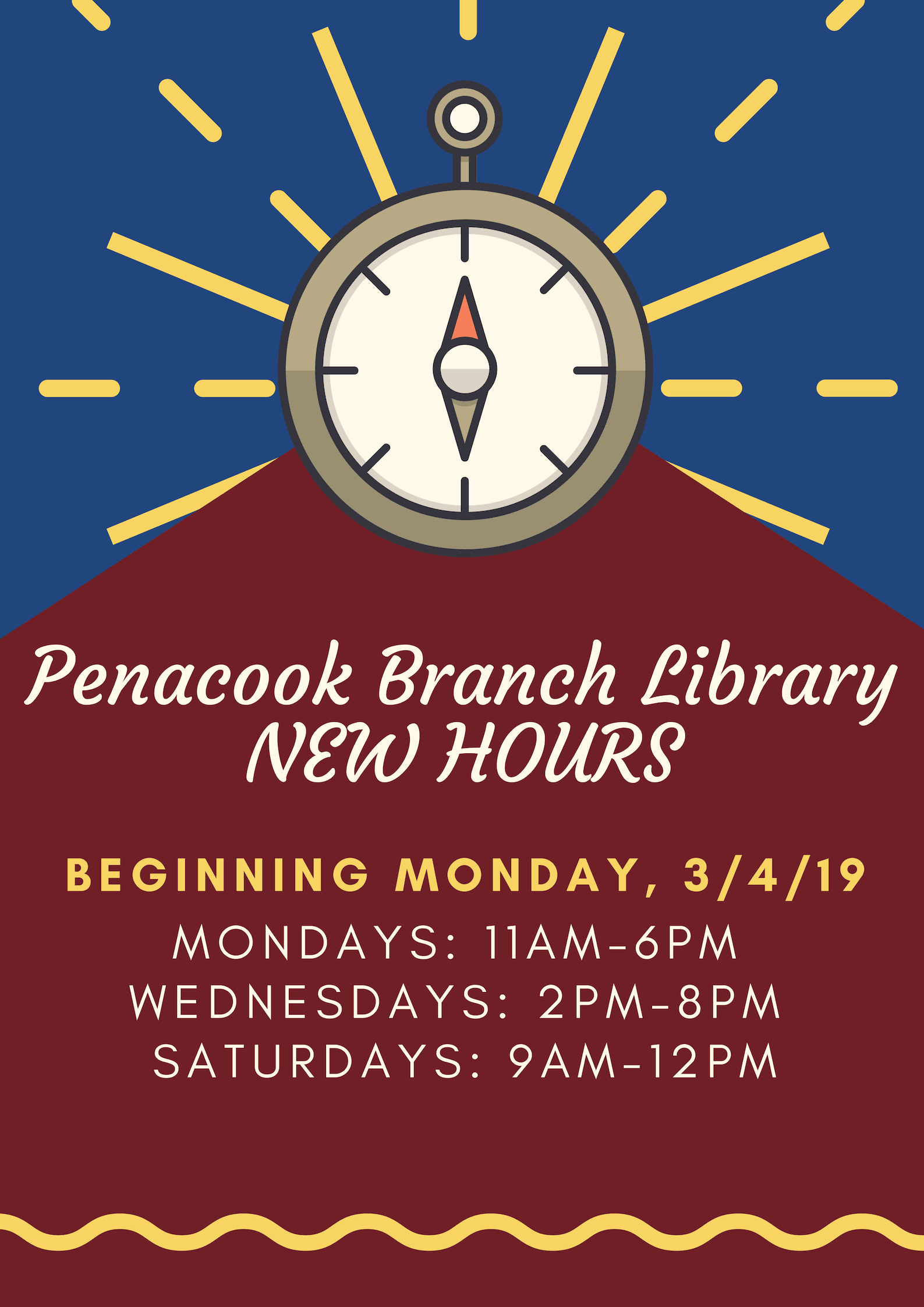 Penacook Branch Library New Hours Flyer