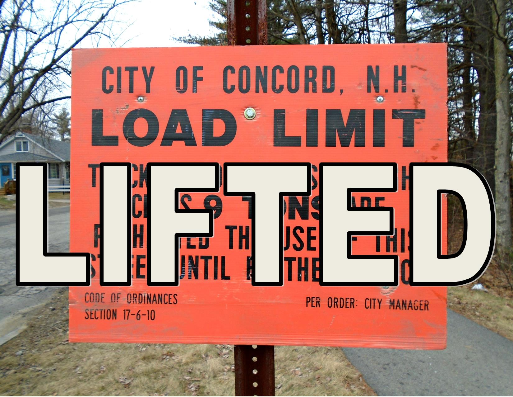 Concord Spring Road Load Limits Lifted