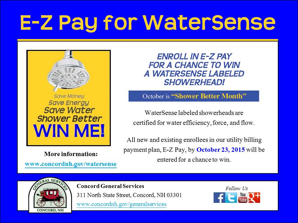 Concord General Services E-Z Pay for WaterSense Showerhead Contest