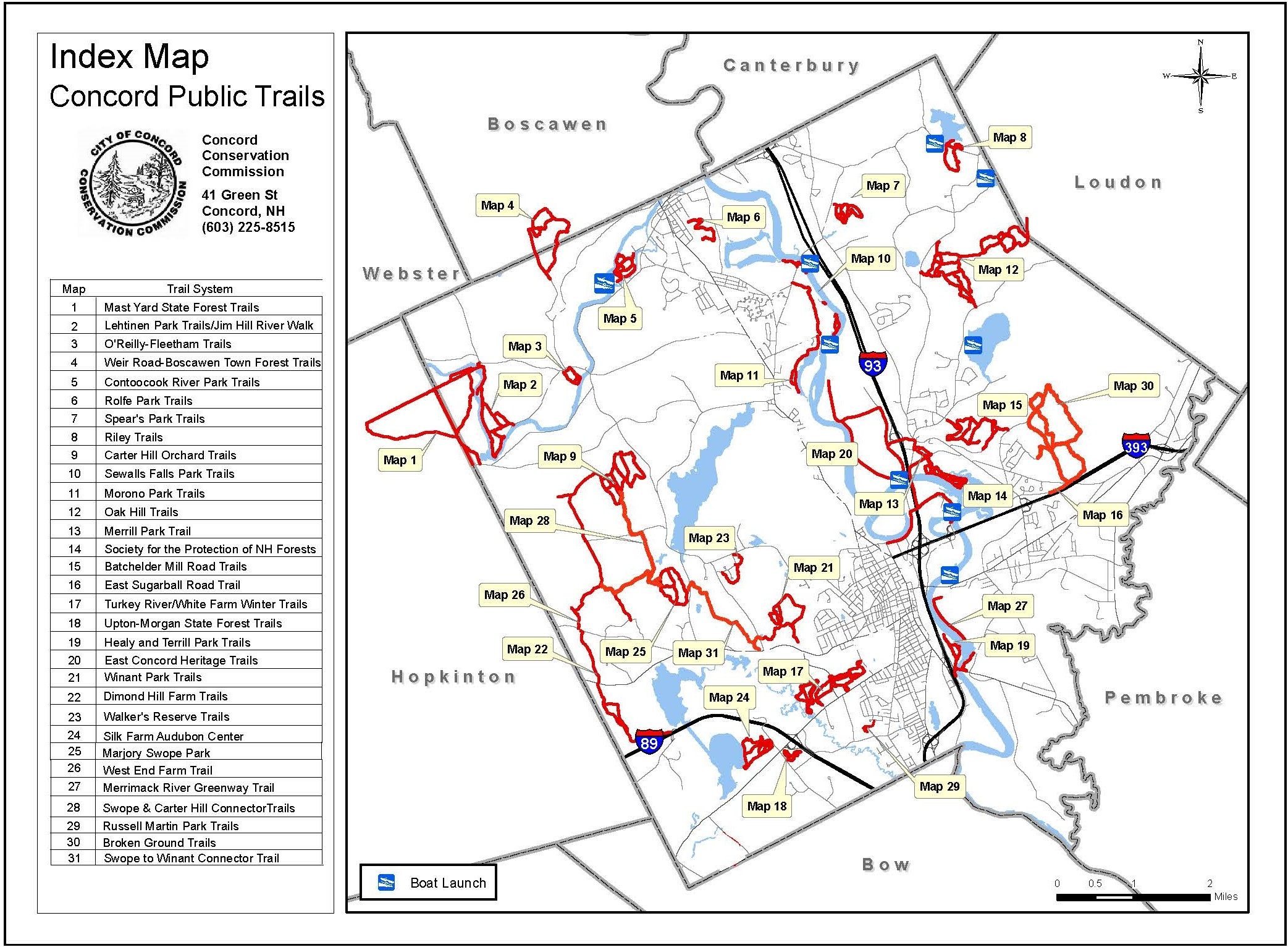 Concord Trails Index Map