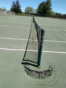 Tennis Court Memorial Field Damage