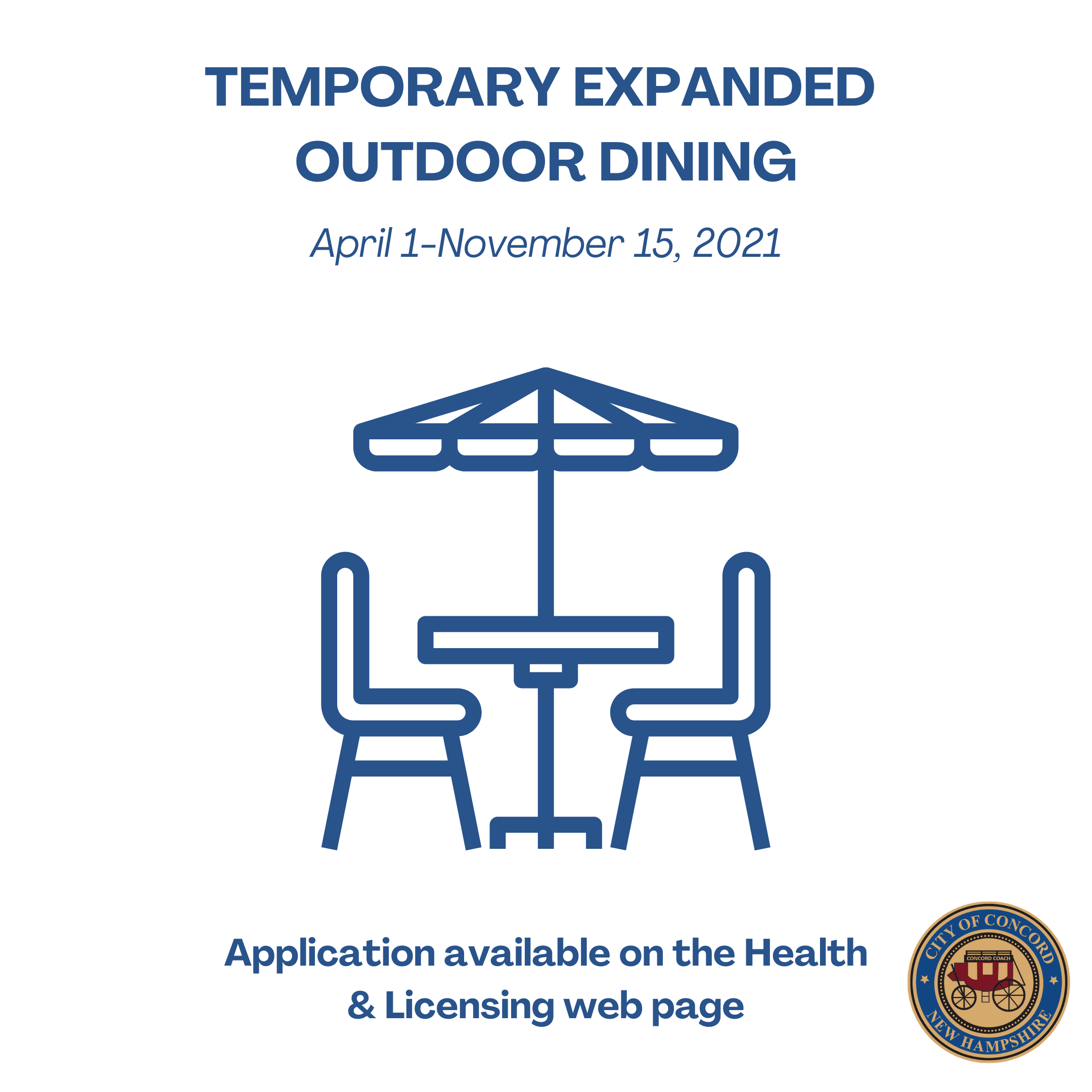 Temporary expanded outdoor dining-news flash